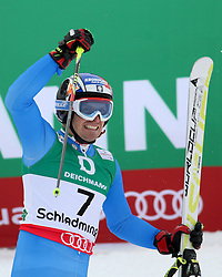 15.02.2013, Planai, Schladming, AUT, FIS Weltmeisterschaften Ski Alpin, Riesenslalom,  Herren, 2. Durchgang, im Bild Manfred Moelgg (ITA, 3. Platz) // 3rd place Manfred Moelgg of Italy reacts after 2nd run of mens Giant Slalom at the FIS Ski World Championships 2013 at the Planai Course, Schladming, Austria on 2013/02/14. EXPA Pictures © 2013, PhotoCredit: EXPA/ Martin Huber