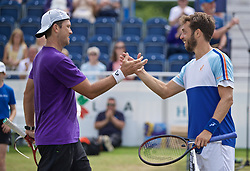 LIVERPOOL, ENGLAND - Sunday, June 23, 2019: Paulo Lorenzi (ITA) (R) shakes hands with Robert Kendrick (USA) after winning the Men's Final 7-6, 6-2 during Day Four of the Liverpool International Tennis Tournament 2019 at the Liverpool Cricket Club. (Pic by David Rawcliffe/Propaganda)