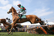 First Drift ridden by Max Kendrick in he 1:45pm The Gaskells Handicap Hurdle (Grade 3) during the Grand National Meeting at Aintree, Liverpool, United Kingdom on 6 April 2019.