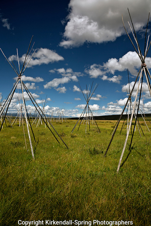 MT00077-00...MONTANA - Ghost teepees, poles standing to mark the location of where people were sleeping the night of the slaughter at the Big Hole National Battlefield.