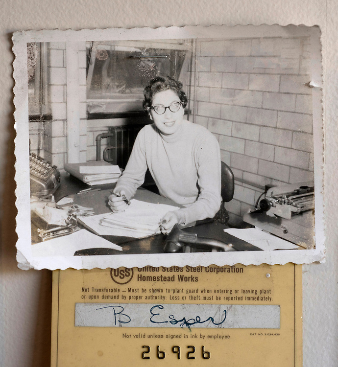 A photograph of Betty Esper and her work ID card when she was a clerk at US Steel Homestead Works in the 1950's