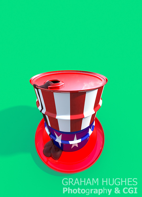 Oil drum shaped like Uncle Sam's stovepipe hat with oil leaking out of top down onto brim of hat.