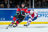KELOWNA, CANADA - NOVEMBER 14: Kobe Mohr #18 of the Edmonton Oil Kings stick checks Cal Foote #25 of the Kelowna Rockets on November 14, 2017 at Prospera Place in Kelowna, British Columbia, Canada.  (Photo by Marissa Baecker/Shoot the Breeze)  *** Local Caption ***