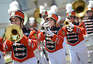 Members of the Pennsbury High School Marching Band perform to spectators during the Tullytown Memorial Day Parade Saturday May 28, 2016 in Tullytown, Pennsylvania. Tullytown is celebrating it's  125th anniversary. (Photo by William Thomas Cain)