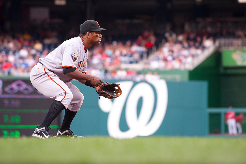 WASHINGTON, DC - APRIL 30: Miguel Tejada #10 of the San Francisco Giants fields his position against the Washington Nationals at Nationals Park on April 30, 2011 in Washington, DC. (Photo by Rob Tringali) *** Local Caption *** Miguel Tejada