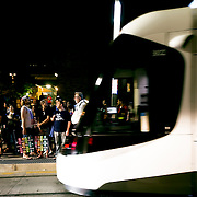 Kansas City Streetcar Stop after conlusion of 2016 Riverfest on the Fourth of July.