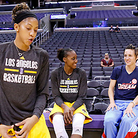08 August 2014: Los Angeles Sparks forward/center Sandrine Gruda (7) and Atlanta Dream guard Celine Dumerc (9) are seen with Los Angeles Sparks forward/center Candace Parker (3) prior to the Los Angeles Sparks 80-77 overtime win over the Atlanta Dream, at the Staples Center, Los Angeles, California, USA.