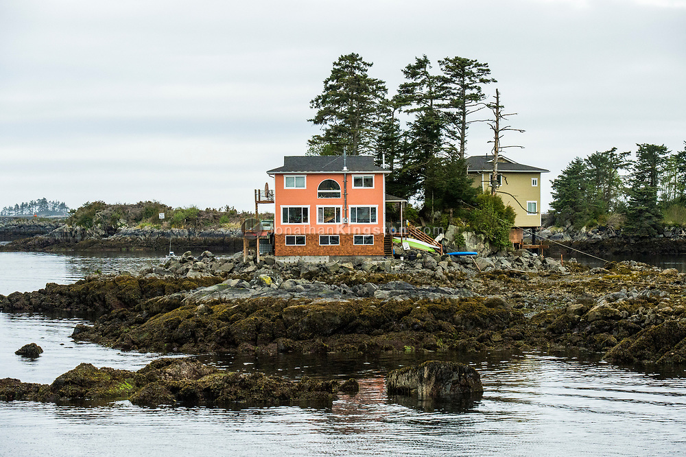 Houses on a small rocky island in Sitka, Alaska.