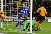 Wolverhampton Wanderers striker Nouha Dicko (9) scores a goal 1-2 and and celebrates during the EFL Sky Bet Championship match between Wolverhampton Wanderers and Birmingham City at Molineux, Wolverhampton, England on 24 February 2017. Photo by Alan Franklin.