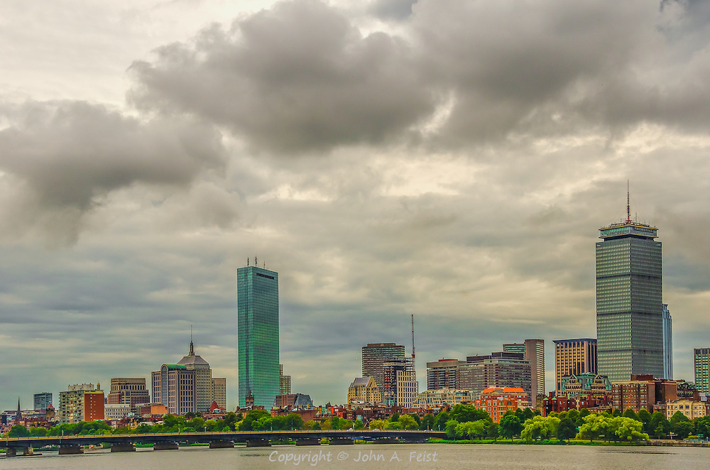 A view of the Boston skyline from across the Charles in Cambridge.  It was overcast when I took this shot.  I was fortunate to get a beautiful variety of clouds and colors as part of this shot