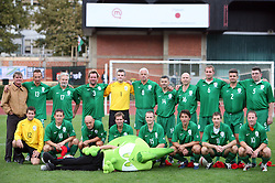 """Group photo of """"Football family"""" at friendly football game between famous Slovenians at day of Fair play, on September 21, 2008 in Kodeljevo, Ljubljana, Slovenia. (Photo by Vid Ponikvar / Sportal Images)"""