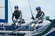The Great Sound, Bermuda, 20th June 2017, Red Bull Youth America's Cup Finals. Race one. NZL Sailing Team. Wing Trimmer, Stewart Dodson and Helmsman, Logan Dunning Beck.