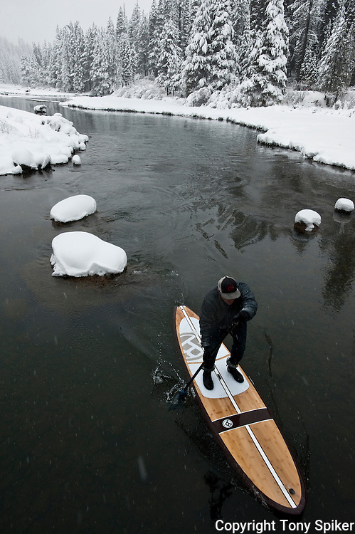 """Winter SUP on the Truckee River 8"" - Peter Spain Stand Up Paddleboarding on the Truckee River"