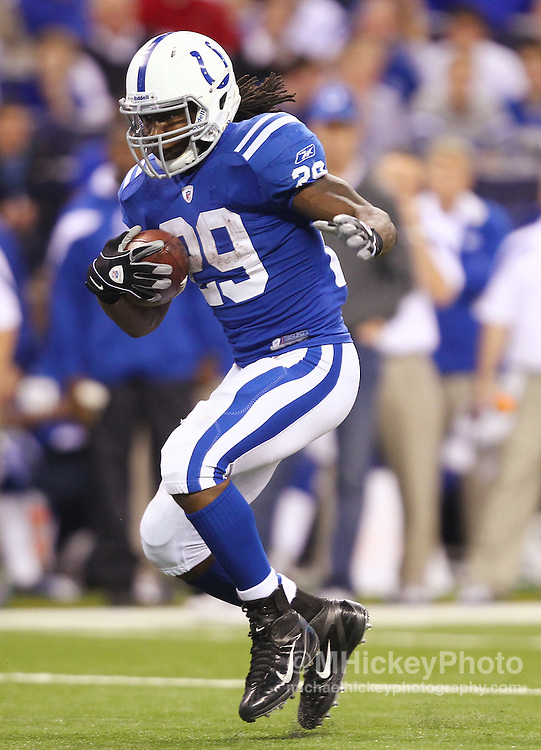 Dec. 22, 2011; Indianapolis, IN, USA; Indianapolis Colts running back Joseph Addai (29) runs the ball against the Houston Texans at Lucas Oil Stadium. Mandatory credit: Michael Hickey-US PRESSWIRE