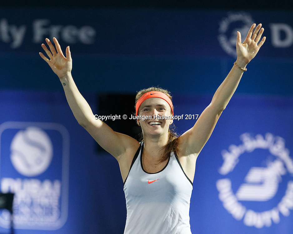 ELINA SVITOLINA (UKR)  jubelt nach ihrem Sieg, Jubel,Freude,Emotion,<br /> <br /> Tennis - Dubai Tennis Championships 2017 -  WTA -  Dubai Duty Free Tennis Stadium - Dubai  -  - United Arab Emirates  - 26 February 2017.
