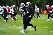 Oakland Raiders warm up during the practice session for Oakland Raiders at the Grove Hotel, Chandlers Cross, United Kingdom on 4 October 2019.