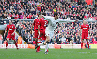 Fotball<br /> Foto: Propaganda/Digitalsport<br /> NORWAY ONLY<br /> <br /> Liverpool, England - Saturday, March 3, 2007:  Liverpool's players can't believe it as John O'Shea Manchester United, helped along by the referee, celebrate scoring the winning goal during the Premiership match at Anfield