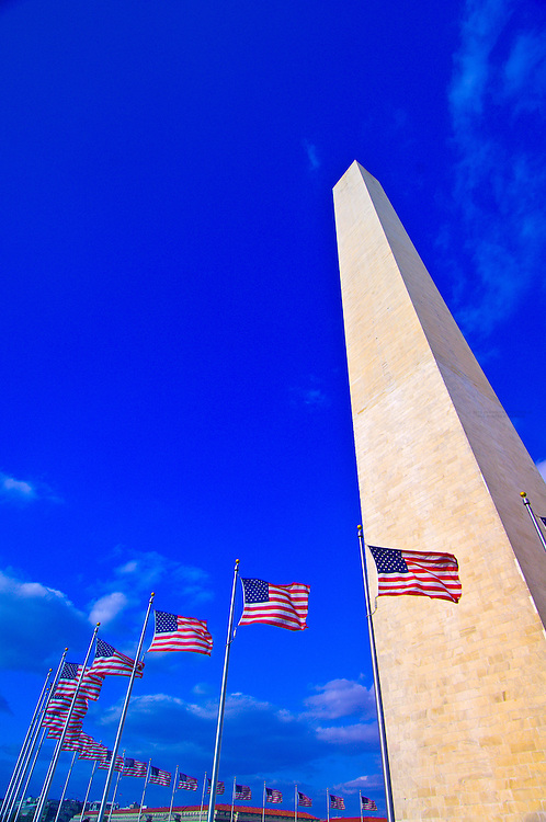 Ring of American flags, Washington Monument,  Washington, District of Columbia, USA