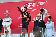 Valtteri Bottas of Mercedes AMG Petronas, Daniel Ricciardo of Red Bull and Lance Stroll of Williams Martin on the podium of the Azerbaijan Formula One Grand Prix at Baku City Circuit, Baku<br /> Picture by EXPA Pictures/Focus Images Ltd 07814482222<br /> 25/06/2017<br /> *** UK &amp; IRELAND ONLY ***<br /> <br /> EXPA-EIB-170625-0060.jpg