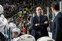 KELOWNA, CANADA - MARCH 25: Kris Mallette, assistant coach of the Kelowna Rockets stands on the bench Kamloops Blazers on March 25, 2016 at Prospera Place in Kelowna, British Columbia, Canada.  (Photo by Marissa Baecker/Shoot the Breeze)  *** Local Caption *** Kris Mallette;