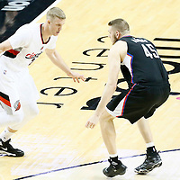 25 April 2016: Los Angeles Clippers center Cole Aldrich (45) defends on Portland Trail Blazers center Mason Plumlee (24) during the Portland Trail Blazers 98-84 victory over the Los Angeles Clippers, during Game Four of the Western Conference Quarterfinals of the NBA Playoffs at the Moda Center, Portland, Oregon, USA.