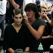 Milan, Italy, September 23, 2010. Backstage at Prada during the Milan Women's Fashion Week Spring/Summer 2011.