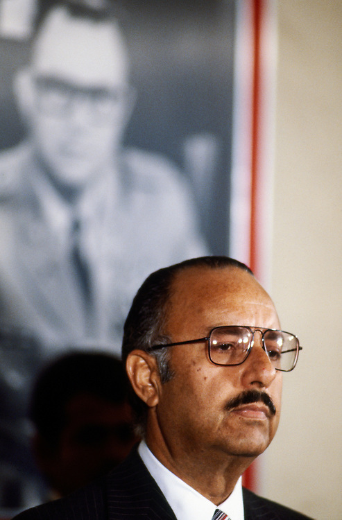 Nicaraguan President Anastasio &quot;Tachito&quot; Somoza Debayle, stands in front of a portrait of his father - former Nicaraguan President  Anastasio Somoza Garc&iacute;a who was assassinated in 1956. Somoza - the younger - was himself assassinated in<br />