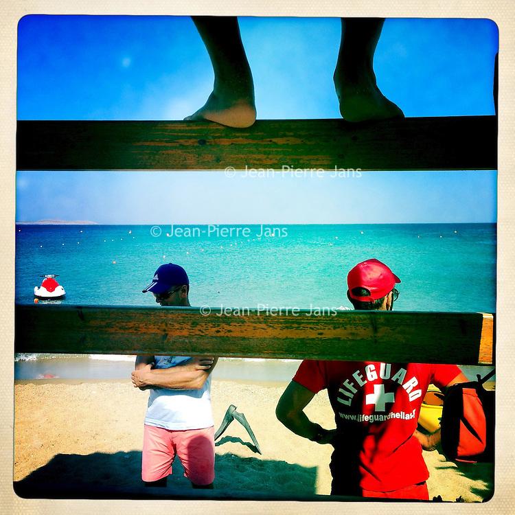 Kreta, Vai , 21 juli 2013.<br /> Strand met lifeguard van het plaatsje Vai  in het uiterste Noord Oosten van Kreta.<br /> Beach near the town of Vai in the north east of Crete.