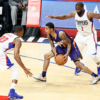 31 October 2016: Phoenix Suns guard Tyler Ulis (8) drives past Los Angeles Clippers guard Raymond Felton (2) and faces Los Angeles Clippers forward Wesley Johnson (33) during the Los Angeles Clippers 116-98 victory over the Phoenix Suns, at the Staples Center, Los Angeles, California, USA.
