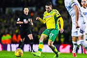Emi Buendia of Norwich City (17) in action during the EFL Sky Bet Championship match between Leeds United and Norwich City at Elland Road, Leeds, England on 2 February 2019.