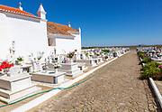 Rural catholic church and cemetery Igreja Santa Bárbara de Padrões, near Castro Verde, Baixo Alentejo, Portugal, southern Europe