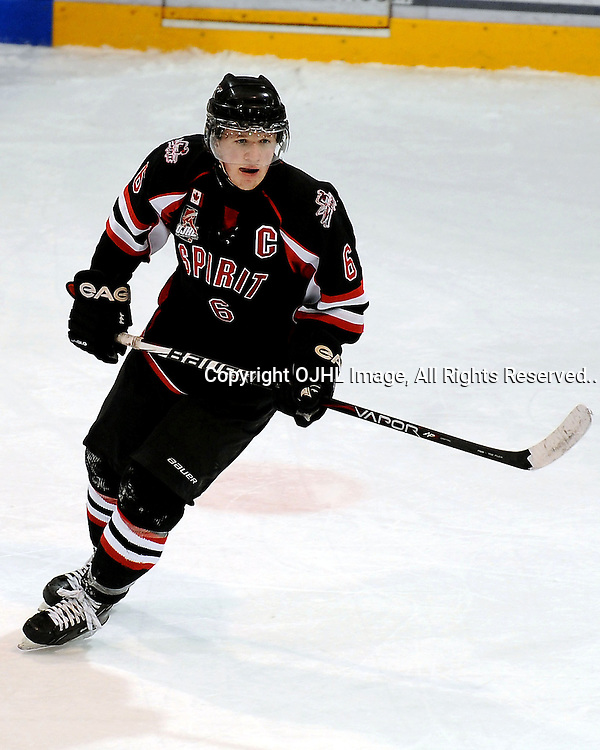 Lindsay,ON-Jan 18:Ontario Junior Hockey League Game Action between the Lindsay Muskies and the Stouffville Spirit, Matthew Heffernan #6 of the Stouffville Spirit during third period game action..(Photo By Andy Corneau - OJHL Images)