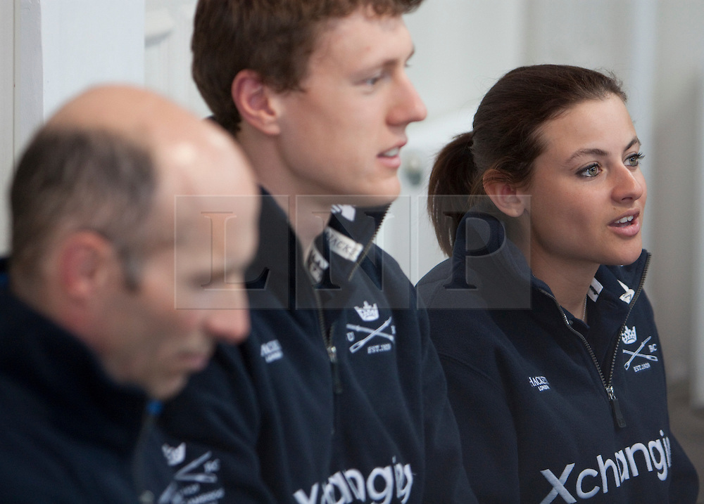 © Licensed to London News Pictures. 05/04/2012. London, U.K..Zoe De Toledo ® , Karl Hudspith (m), and Sean Bowden (l) of the oxford crew at The Xchanging Oxford & Cambridge University Boat Race - press conference. The crews meet the press to discuss the boat race on saturday 7th April...Photo credit : Rich Bowen/LNP
