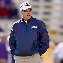 November 17, 2012; Baton Rouge, LA, USA; Ole Miss Rebels head coach Hugh Freeze prior to kickoff of a game against the LSU Tigers at Tiger Stadium.  Mandatory Credit: Derick E. Hingle-US PRESSWIRE