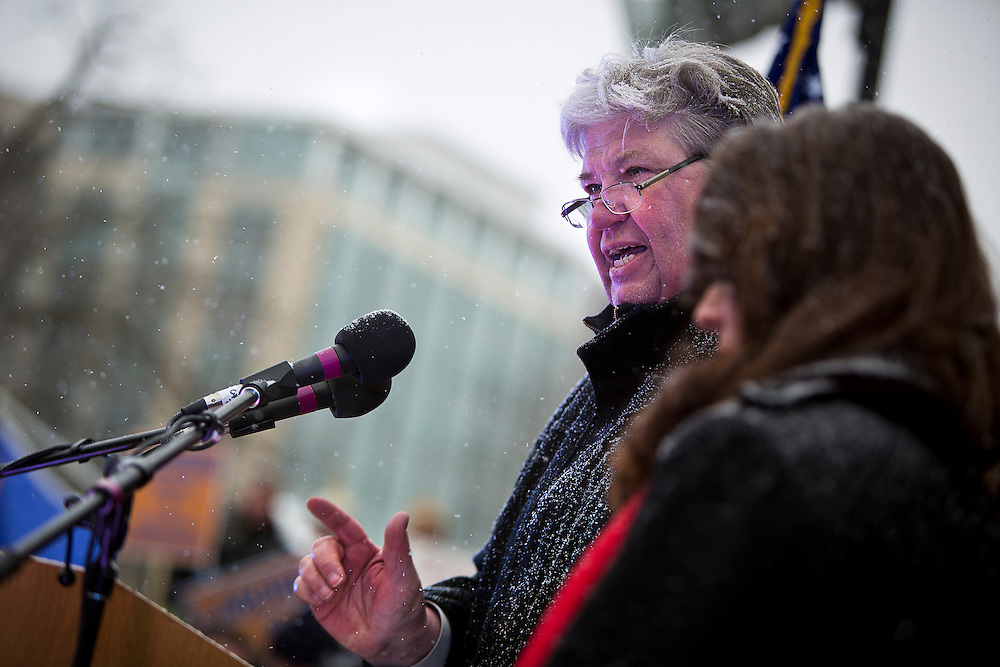 MADISON, WI — FEBRUARY 25: AFL-CIO President Phil Neueunfeldt speaks at the podium during a rally outside the Wisconsin State Capitol in opposition to right-to-work legislation.
