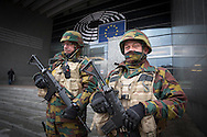 Soldiers guarding the European Parliament. The day after the explosion at Maelbeek Metro station and Brussels Airport in Brussels. Photo: Erik Luntang