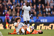 Chelsea defender David Luiz (30) clashes with Chelsea goalkeeper Thibaut Courtois (13) during the Premier League match between Leicester City and Chelsea at the King Power Stadium, Leicester, England on 9 September 2017. Photo by Jon Hobley.