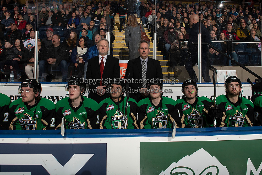 KELOWNA, BC - JANUARY 19:  Head coach Marc Habscheid and assistant coach Jeff Truit stand on the bench of the Prince Albert Raiders against the Kelowna Rockets at Prospera Place on January 19, 2019 in Kelowna, Canada. (Photo by Marissa Baecker/Getty Images)***Local Caption***