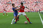 Chelsea's César Azpilicueta(28) and Arsenal's Granit Xhaka(29) battle for possession  during the The FA Cup final match between Arsenal and Chelsea at Wembley Stadium, London, England on 27 May 2017. Photo by Shane Healey.