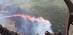 Hanout photo taken on May 22, 2018 of Kilauea Volcano — Active Lava Break-Out. Aerial view of an active lava break-out. Photo by usgs via ABACAPRESS.COM