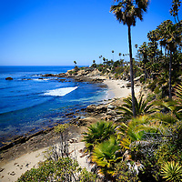 Photo of Laguna Beach California beaches and colorful scenery at Heisler Park along the Pacific Ocean. Laguna Beach is a seaside beach community in Orange County Southern California.
