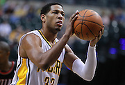 March 13, 2012; Indianapolis, IN, USA; Indiana Pacers small forward Danny Granger (33) shoots a free throw against the Portland Trail Blazers at Bankers Life Fieldhouse. Indiana defeated Portland 92-75. Mandatory credit: Michael Hickey-US PRESSWIRE