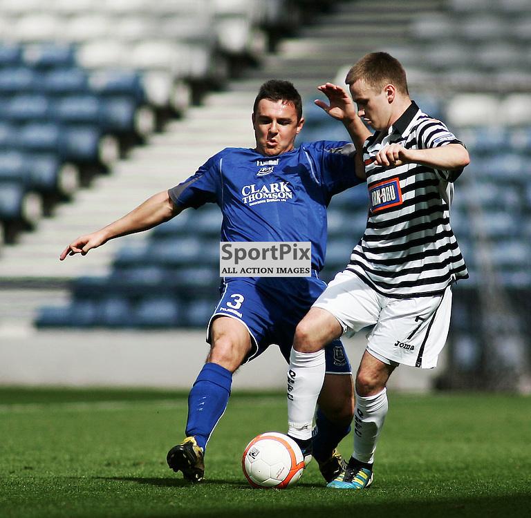 Paul McMullan Elgin City shuts down Ian Watt Queens Park in the irn bru 3rd division match at hampden stadium picture kevin mcglynn   stockpix