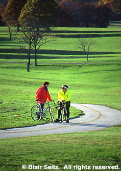 Couple biking, Valley Forge National Historic Park, King of Prussia, Montgomery Co., PA