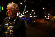 Poet and composer David Amram hangs out in front of the Bowery Poetry Club after reading and performing during the 2007 Howl Festival in New York City.