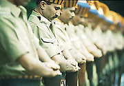 BANGALORE,1999.<br /> A police battalion pays homage to the soldiers killed during the Kargil War, between India and Pakistan that took place between May and July 1999 in the Kargil district of Kashmir.