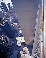 NYC, NY, World Trade Center, Twin Towers, looking down at Austin Tobin Plaza, designed by Minoru Yamasaki, International Style II