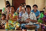 People of Lawai welcoming visitors to their village; Viti Levu Island, Fiji.