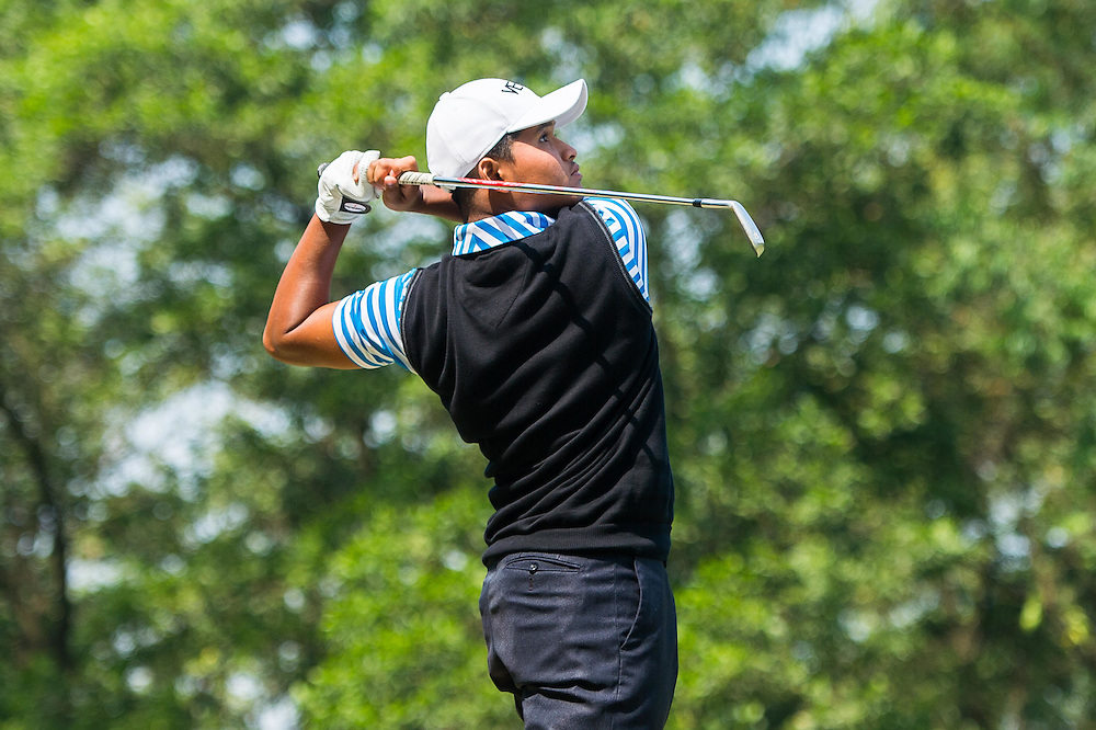 Muhammad Danial Faiz Jazmi of Malaysia in action during day two of the 10th Faldo Series Asia Grand Final at Faldo course on 03 March of 2016 in Shenzhen, China. Photo by Xaume Olleros.