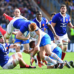 Felix Lambey of France during the Guinness Six Nations match between Italy and France on March 16, 2019 in Rome, Italy. (Photo by Dave Winter/Icon Sport)